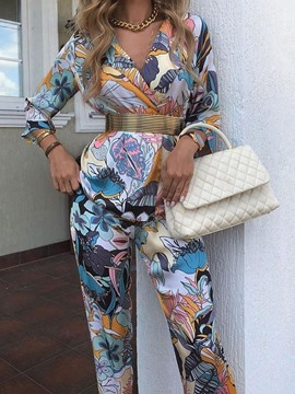 Ericdress Pants Print Floral Straight Two Piece Sets Womne's Pants Set