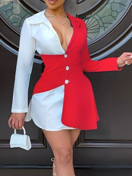Ericdress Above Knee Long Sleeve Patchwork Bodycon Fashion Dress