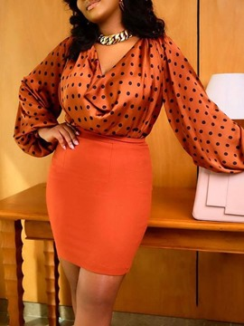 Ericdress Print Polka Dots Fashion Bodycon Pullover Two Piece Sets Women's Skirt Set
