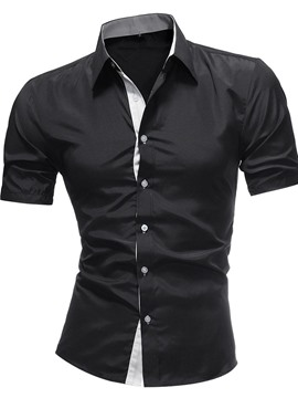 Ericdress Lapel Button Casual Slim Single-Breasted Men's Slim Shirt