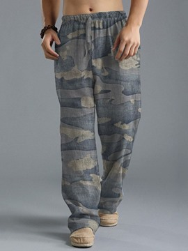 Ericdress Straight Print Casual Men's Casual Cotton Blends Pants