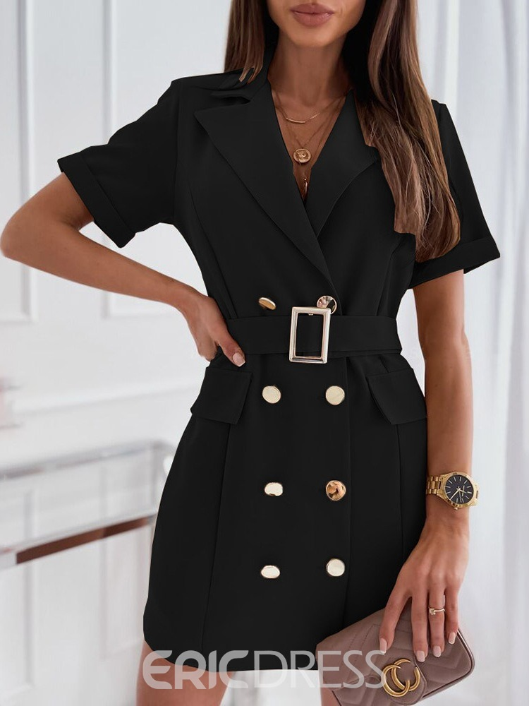 Ericdress Double-Breasted Notched Lapel Short Sleeve Mid-Length Women's Casual Blazer