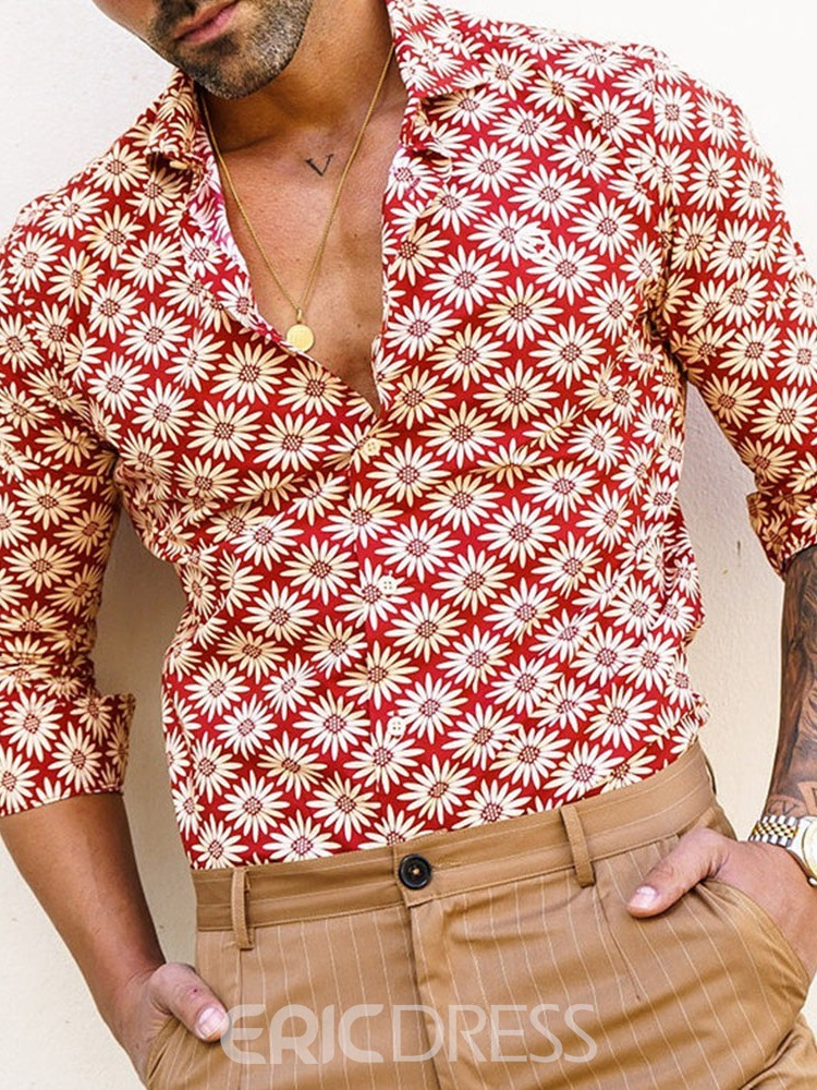 Ericdress Casual Print Floral Single-Breasted Men's Red Shirt