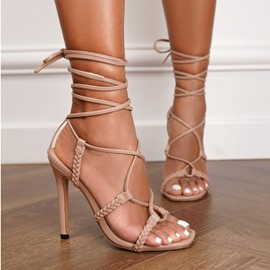 Ericdress Open Toe Lace-Up Stiletto Heel Lace-Up Women's Sandals