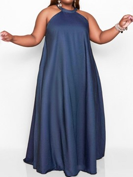 Ericdress Round Neck Sleeveless Floor-Length Pullover Expansion Maxi Dress Plus Size