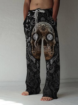 Ericdress Print Straight Skull Lace-Up Casual Men's Pants