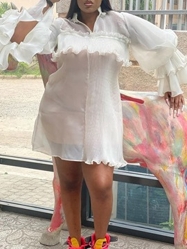 Ericdress Long Sleeve Above Knee Pleated Western Dress Plus Size