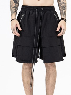 Ericdress Plain Pocket Straight Lace-Up Knee Length Men's Casual Shorts