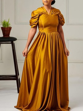 Ericdress Short Sleeve Pleated V-Neck Pullover Expansion Maxi Dress