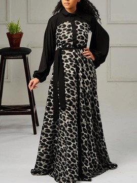 Ericdress Lace-Up Lapel Long Sleeve Pullover Maxi Dress