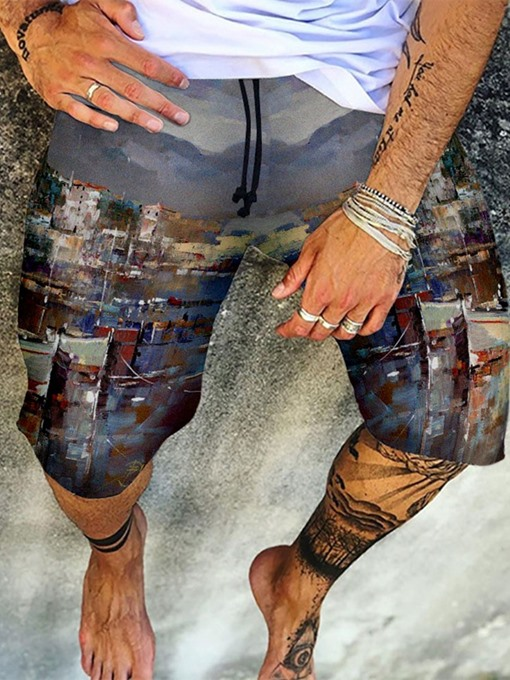 Ericdress Print Straight Lace-Up Summer Casual Pants Men's Short