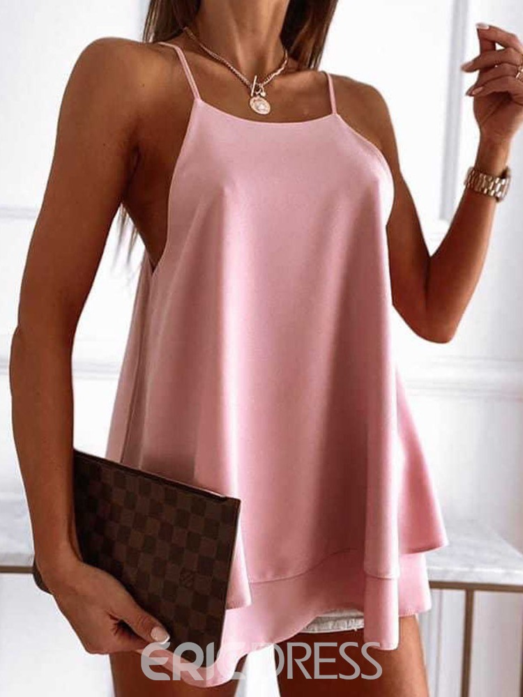 Ericdress Polyester Patchwork Spaghetti Straps Women's Mid-Length Tank Top