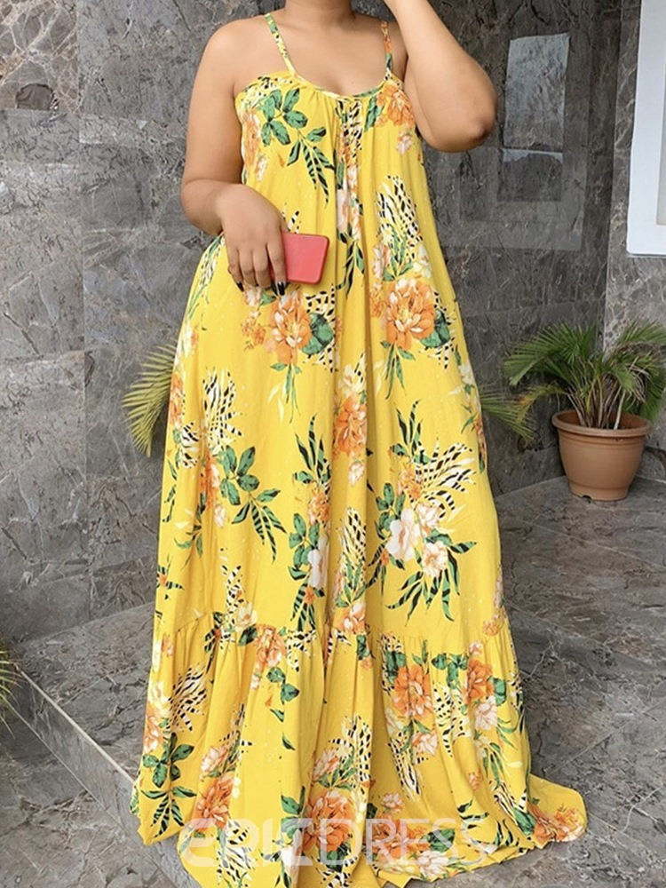 Ericdress Print Floor-Length Sleeveless Expansion Pullover Floral Maxi Dress