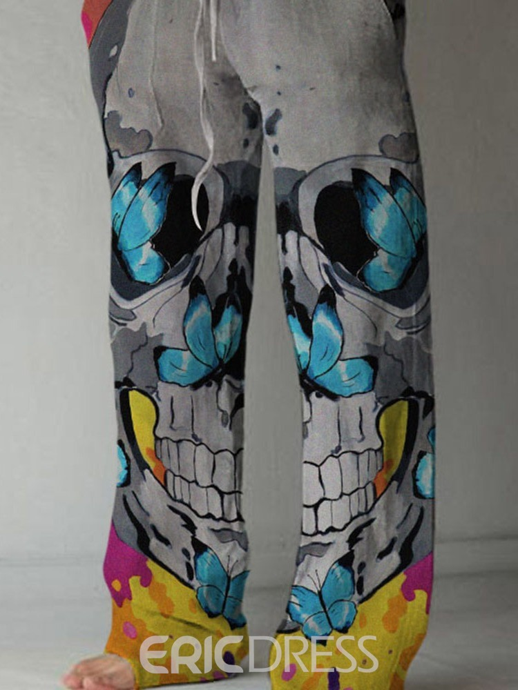 Ericdress Print Skull Straight Lace-Up Men's Full Length Casual Pants