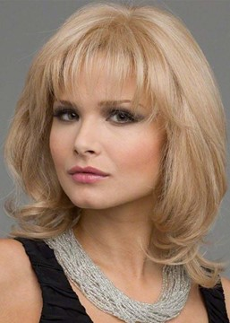 Ericdress Women's Medium Hairstyles Light Color Layered Wavy Synhetic Hair Capless Wigs With Bangs 16Inch