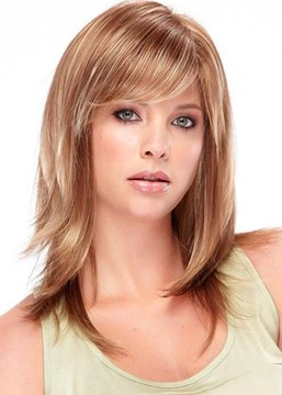 Ericdress Medium Hairstyles Women's Blonde Slik Straight Synthetic Hair Wigs With Bangs Capless Wigs 16Inch