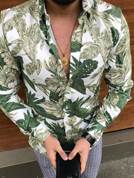 Ericdress Plant Print Casual Single-Breasted Men's Light Green Shirt