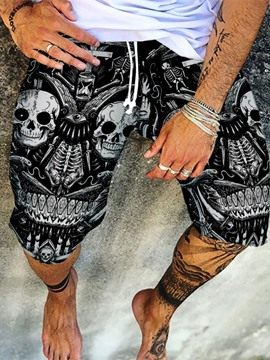 Ericdress Print Straight Skull Lace-Up Knee Length Men's Casual Pants