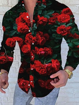 Ericdress Floral Lapel Print Single-Breasted Men's Shirt
