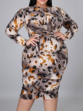 Ericdress Long Sleeve Round Neck Mid-Calf Geometric Pullover Bodycon Dress Plus Size