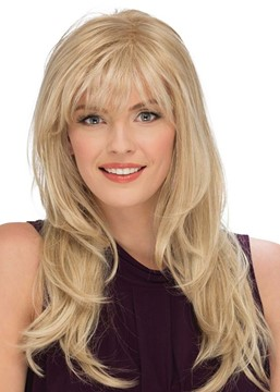 Ericdress Women's Blonde Color Long Length Natural Straight Human Hair Capless Wigs 24Inch