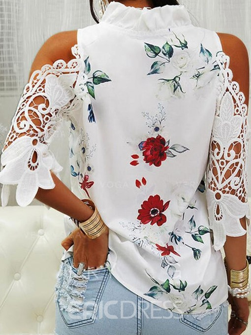 Ericdress Stand Collar Floral Lace Women's Three-Quarter Sleeve Standard Blouse