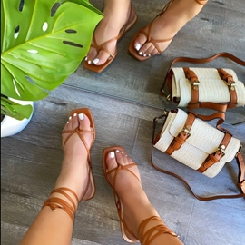 Ericdress Lace-Up Strappy Thong Low-Cut Upper Women's Sandals
