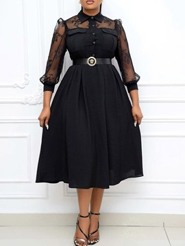Ericdress Patchwork Mid-Calf Lapel Pullover Office Lady Midi Dress