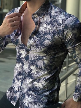 Ericdress Floral Lapel Casual Single-Breasted Men's Shirt