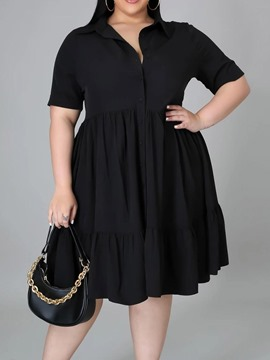 Ericdress Mid-Calf Button Short Sleeve A-Line Single-Breasted Midi Dress Plus Size