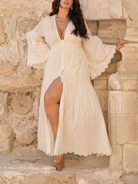 Ericdress Long Sleeve Ankle-Length Patchwork Single-Breasted Maxi Dress
