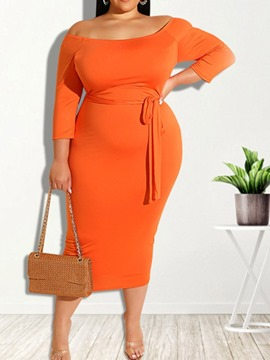 Ericdress Lace-Up Nine Points Sleeve Mid-Calf Regular Bodycon Dress Plus Size