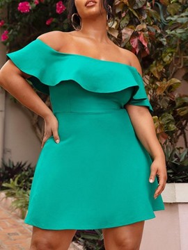 Ericdress Above Knee Short Sleeve Off Shoulder Sexy Bodycon Dress Plus Size