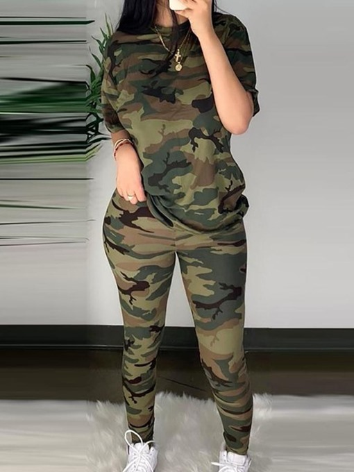 Ericdress Casual Pants Camouflage Pullover Women's Two Piece Sets Pants Set