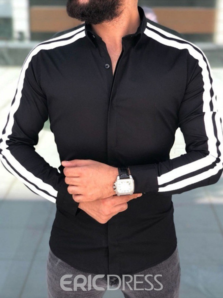Ericdress Button Lapel Casual Single-Breasted Long Sleeves Men's Slim Shirt