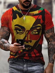 Ericdress Print Round Neck Pullover Short Sleeve Mens Red T-shirt  - buy with discount