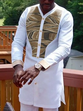 Ericdress Ethnic Patchwork Color Block Single-Breasted Men's Shirt