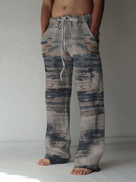 Ericdress Print Straight Casual Lace-Up Men's Casual Pants