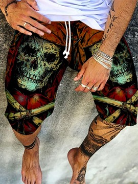 Ericdress Pocket Straight Skull Lace-Up Men's Casual Pants