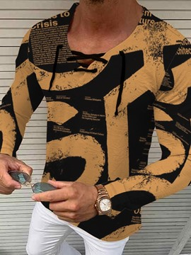 Ericdress Lace-Up Long Sleeve Pullover Men's T-shirt