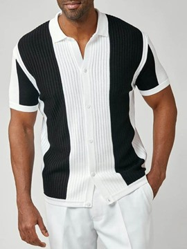Ericdress Lapel Casual Button Single-Breasted Men's Short Sleeve Shirt