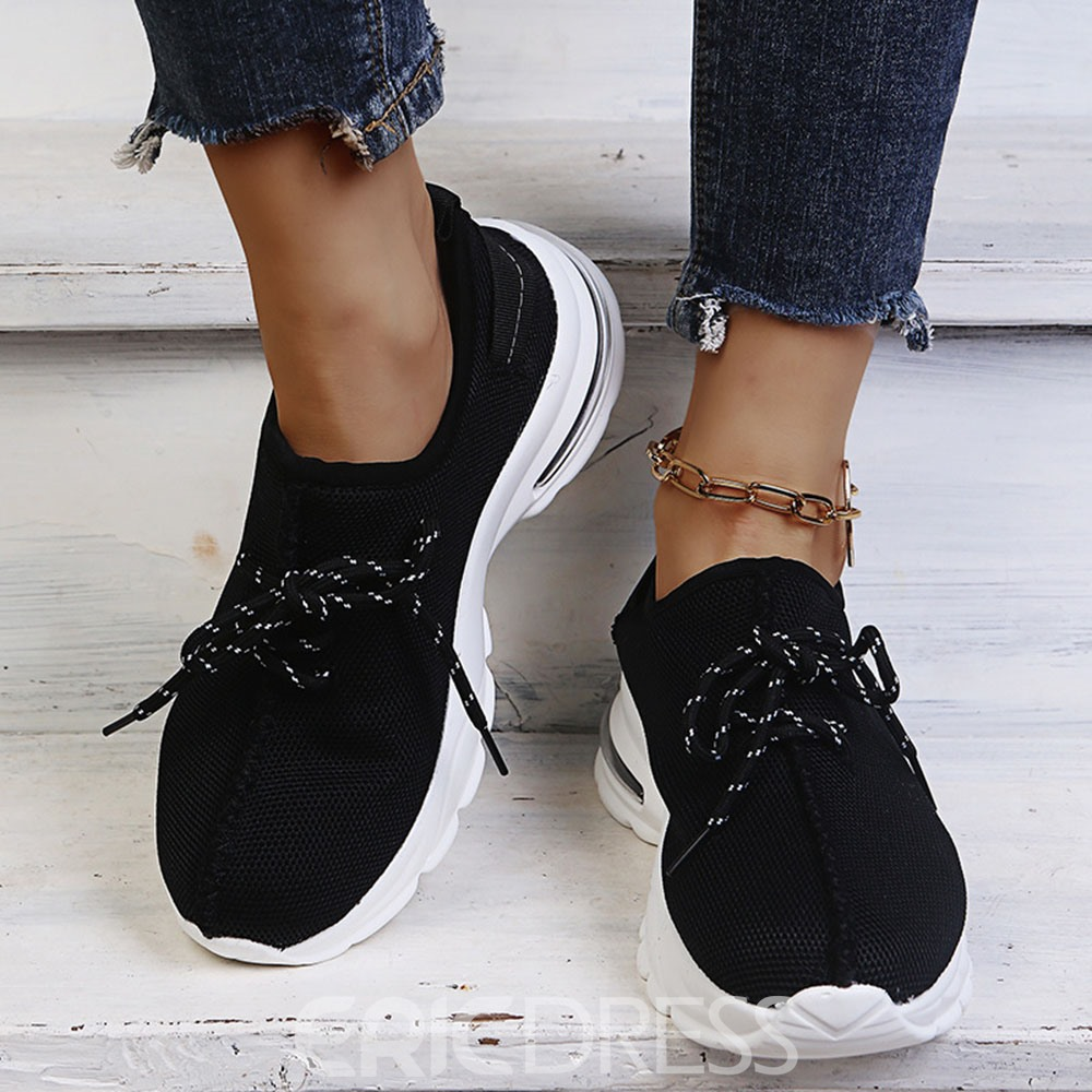Ericdress Round Toe Lace-Up Lace-Up Women's Casual Sneakers