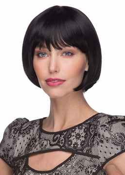 Ericdress Fashion Women's Short Bob Hairstyles Natural Straight Human Hair Capless Wigs With Bangs 8Inch