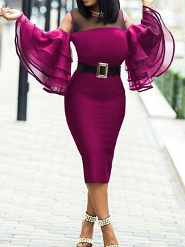 Ericdress Long Sleeve Round Neck Mid-Calf Pullover Bodycon Dress Plus Size