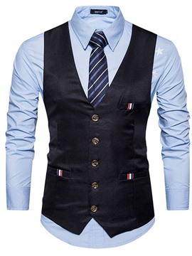 Ericdress Button Single-Breasted Single-Breasted Men's Formal Waistcoat
