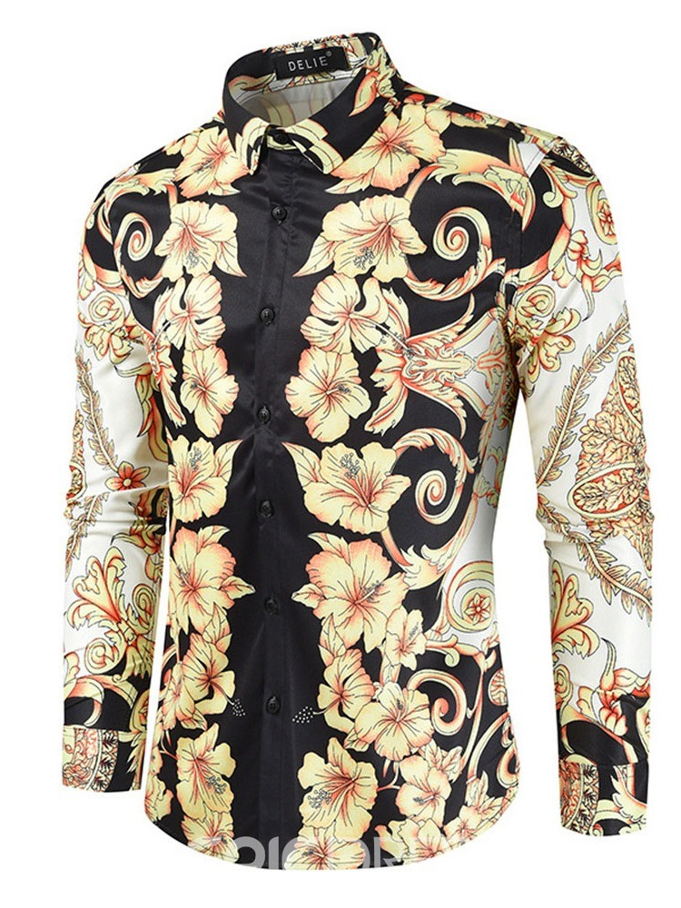 Ericdress Print Floral Casual Single-Breasted Men's Light YellowSlim Shirt
