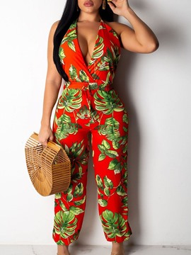 Ericdress Floral Sexy Backless Women's Slim Straight Jumpsuit