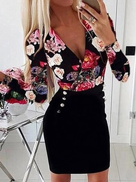 Ericdress Long Sleeve Print Above Knee Fashion Floral Bodycon Dress