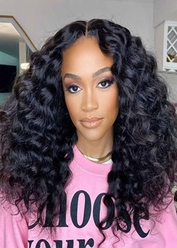 Ericdress African American Women's Afro Kinky Curly Middle Part Synthetic Hair Lace Front Wigs 22Inch