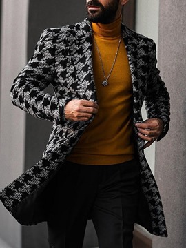 Ericdress Mid-Length Houndstooth Men's Double-Breasted Coat